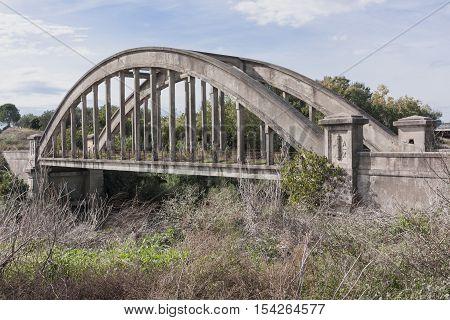 Old bridge built by Benito Mussolini symbol of the fascist era