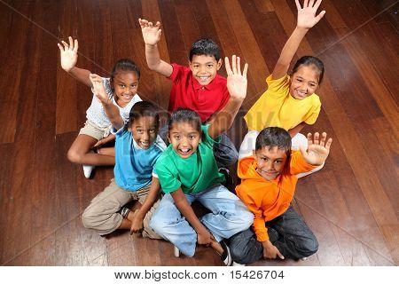 Six school children in class