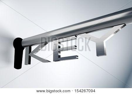metal key unlock keyhole secure 3D Illustration