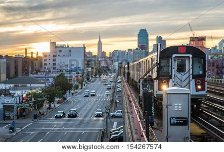 New york cityNew york usa. September 22nd 2016. The MTA seven line in New york city.The Metropolitan Transportation Authority is a public benefit corporation responsible for public transportation in the state of New York