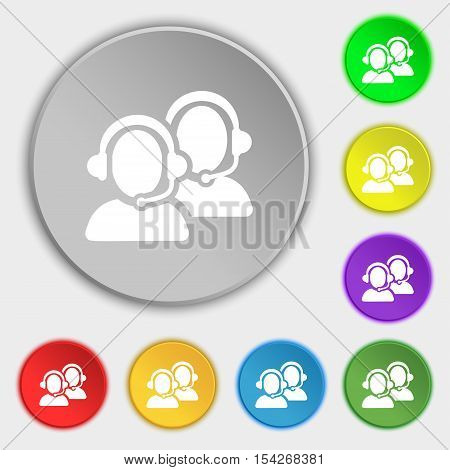 Call Center Icon Sign. Symbol On Eight Flat Buttons. Vector
