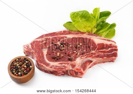 juicy organic raw steak on a isolated white background
