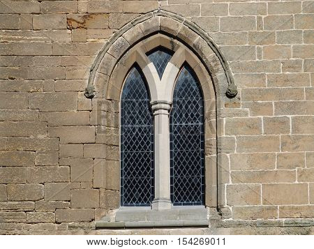 Gothic window at ruins of the Elgin cathedral, Scotland
