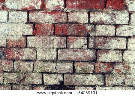 background of red shabby stained whitewash brick shabby weather