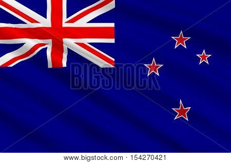 Flag of New Zealand. The Union Flag recalls New Zealands colonial ties to Britain and the stars represent the constellation of Crux the Southern Cross. 3d illustration
