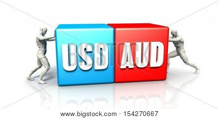 USD AUD Currency Pair Fighting in Blue Red and White Background 3d Illustration Render