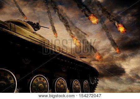 Military Tank On Battlefield