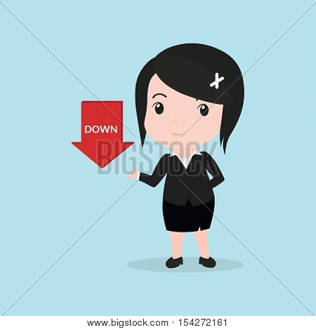 Business Woman Concept By Have Down Arrow