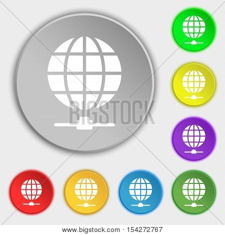 Website Icon Sign. Symbol On Eight Flat Buttons. Vector