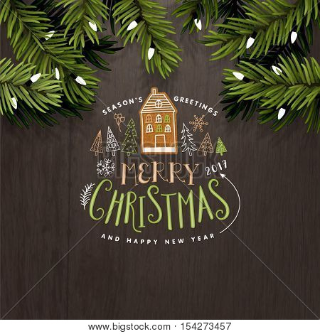 Wooden background christmas greeting card. Merry Christmas lettering