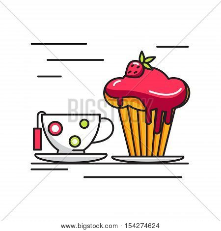 Cup of tea and cake icon. Funny illustration with a cup of tea and cake with red sauce and strawberries in a linear abstract style. Vector illustration.
