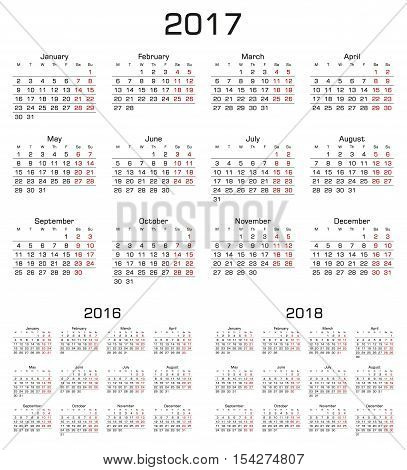 Simple Calendar 2017 2016 2018. Week starts from monday. Vector Illustration.