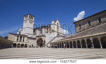 ASSISI, ITALY - MAY 7, 2016: Historic town of Assisi in Italy. Basilica of St. Francis in May 7, 2016