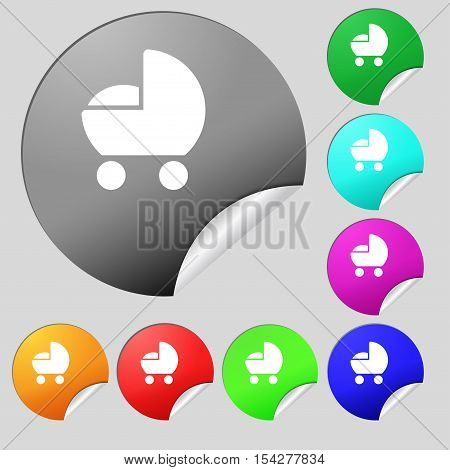 Baby Pram Icon Sign. Set Of Eight Multi Colored Round Buttons, Stickers. Vector