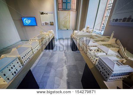 GENOA, ITALY - AUG 6, 2016: Exposition in Museum Strada Nouva - Palazzo Doria Tursi. This palace, one of three that together make up the Musei di Strada Nuova.