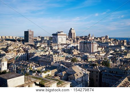 GENOA, ITALY - AUG 6, 2016: Cityscape of Genoa with East center, historical center and Portello square. Genoa is the capital of Liguria and one of Europes largest cities on the Mediterranean Sea.