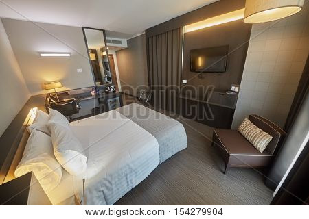 GENOA, ITALY - AUG 6, 2016: Interior of room in Best Western Premier CHC Airport. It is brand new hotel, built in 2012.