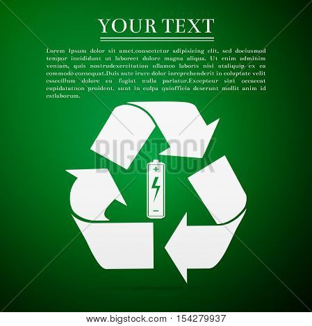 Battery with recycle symbol - renewable energy concept flat icon on green background. Vector Illustration