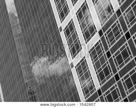 Black And White High Contrast Abstract Image Of Office Building