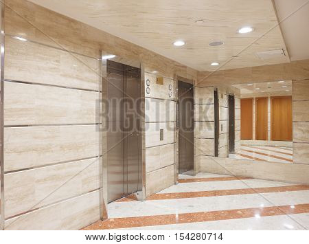 Elevators lobby. Office building modern design interior