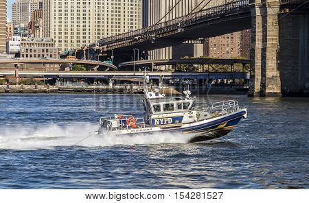 New York Police Department Controls With A Speed Boat The River Hudson