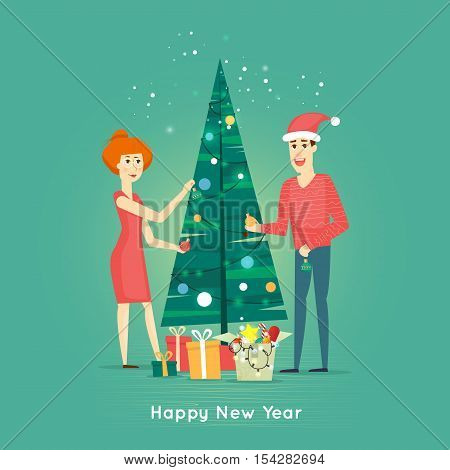 Happy family decorating Christmas tree. Happy New Year. Flat design vector illustration.