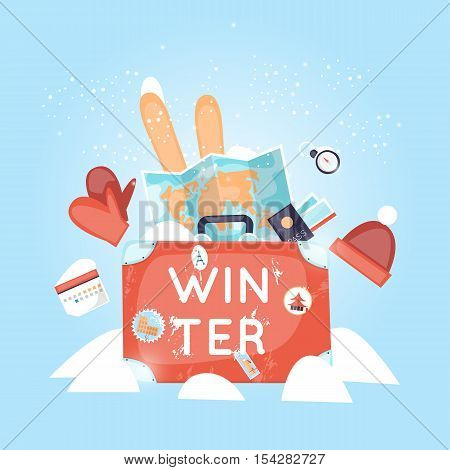 World Travel. Russia, USA, Japan, France, England, Italy. Planning winter vacations. Winter holiday. Tourism and vacation theme. Flat design vector illustration.
