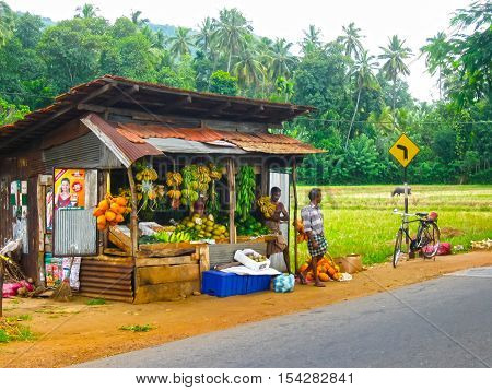 Pinnawella Sri Lanka - May 02 2009: The roadside shop with durians at Sri Lanka