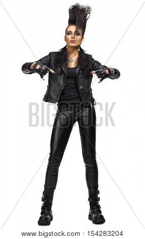 Rock musician woman isolated on white