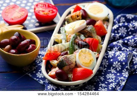 Mixed Vegetable and Sardine Salad . selective focus selective focus