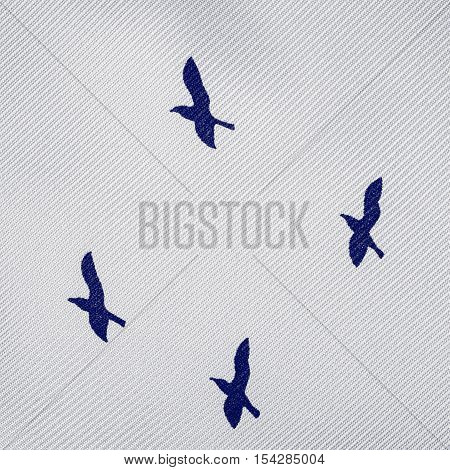 Fabric Texture With Bird Pattern