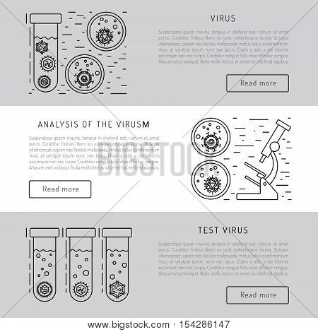 Vector illustration of cells of microorganisms, viruses, DNA and RNA. Cells of different pathogens and viruses drawn in a linear style, are icons of the cells.