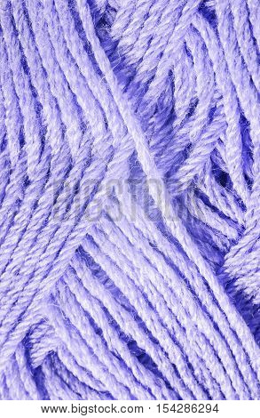 Skein of blue knitting yarn close up