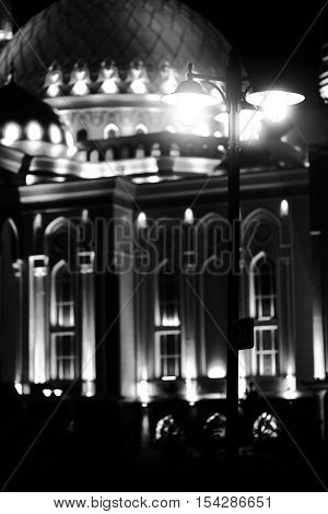 Street light near the city mosque in monochrome.