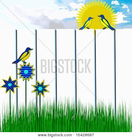 Birds In Sunny Day Scene, See Vector Also In My Portfolio