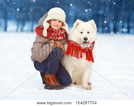 Christmas Happy Teenager Boy Walking With White Samoyed Dog In Winter Day, Child And Dog On Snow, Fl