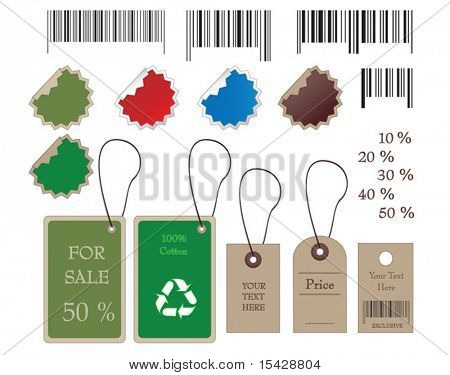 VECTOR. Barcodes, stickers, tally and labels in vector format