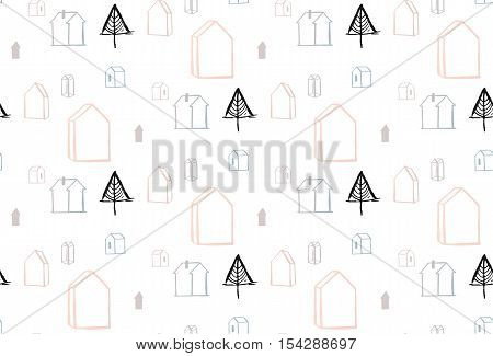 Hand drawn vector abstract Christmas tree background seamless pattern with graphic simple christmas trees and pastel colored decor terrariums houses isolated on white background.