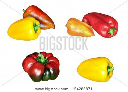 Set of fresh sweet peppers isolated on white background.