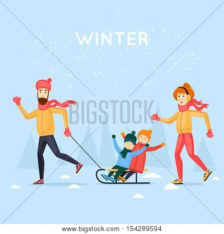 Tobogganing with kids. Happy family cartoon. Winter season. Flat design vector illustration.