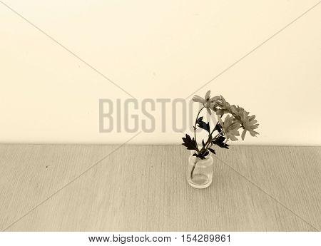 Dark flowers on table - condolence card