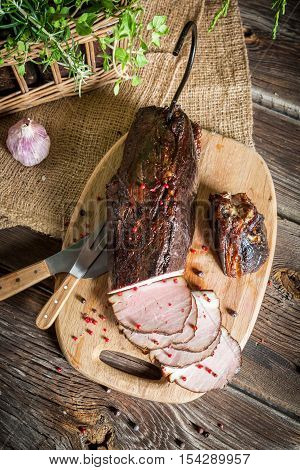 Delicious Smoked Ham Cooked In The Traditional Way