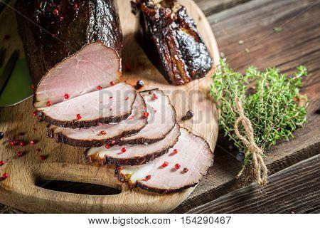 Closeup Of Freshly Smoked Ham In A Rural Pantry