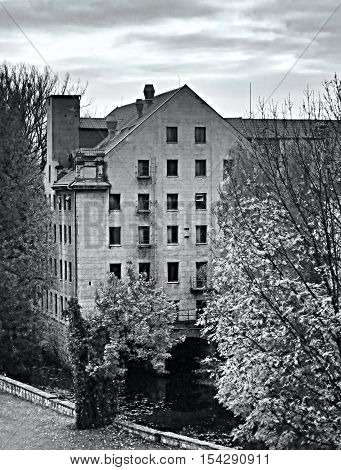 dramatic portrayal of the mysterious house in Litomerice city in Czech republic