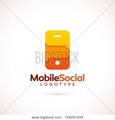 Vector logo template for mobile technology company or social network startup. Colorful speech bubbles in the shape of smartphone. Easy to edit, ready to use. Red, orange and yellow color scheme.