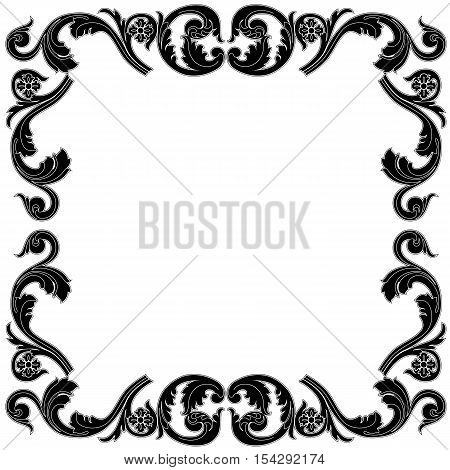 Black frame, vintage frame, baroque frame,  scroll frame, engraving frame, floral frame, retro frame, antique frame, foliage frame, swirl frame, decorative frame, filigree frame, vector.