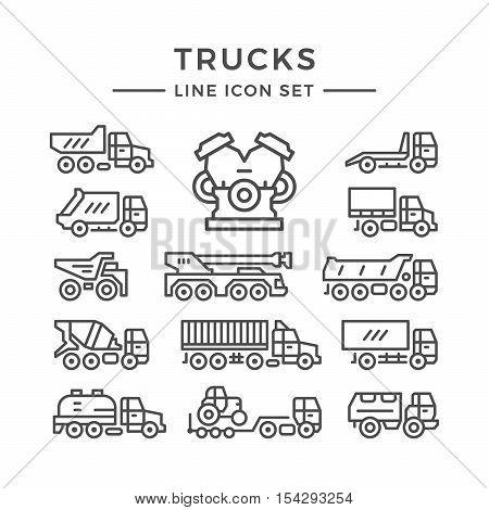 Set line icons of trucks isolated on white. Vector illustration