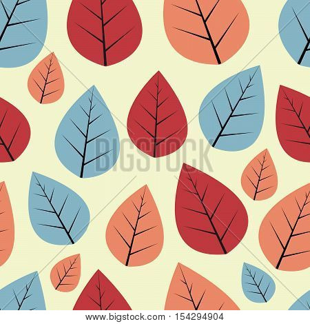 Seamless decorative vector pattern with red, blue and dusty pink leaves on beige background.