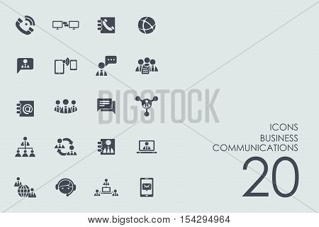 business communications vector set of modern simple icons