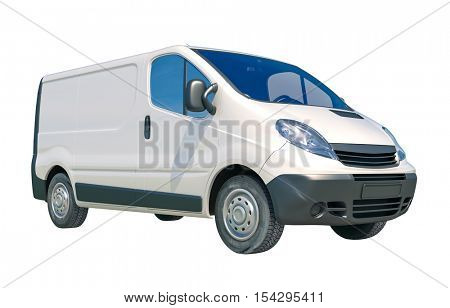 3d rendrer: White Delivery Van Icon Isolated on White Background